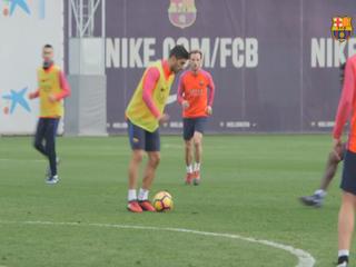 Los goles de Luis Suárez en el entrenamiento del FC Barcelona