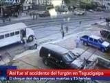 Así fue el accidente del furgón en Tegucigalpa