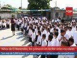Niños de El Merendón, los primeros en recibir útiles escolares