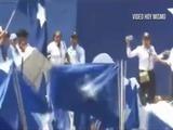 Se cae tarima del Partido Nacional en Choluteca
