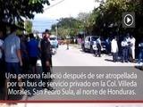 Una persona muere tras ser atropellada por un bus en San Pedro Sula