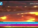 Pasajero graba incendio en avión de Singapore Airlines