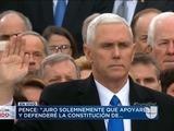 Juez Clarence Thomas presta juramento a Vicepresidente Pence