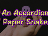 Learn how to make an accordion paper snake. You will need: two pieces of constructions paper, scissors, a glue stick, and a marker.