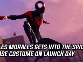 Miles Morales getting Into the Spider Verse suit at launch